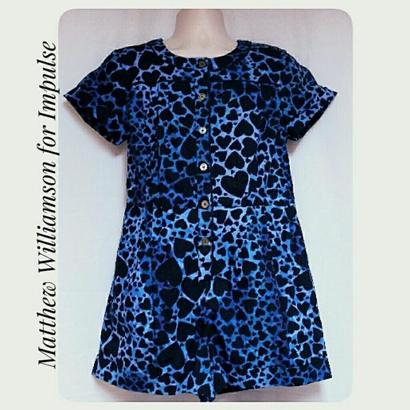 Macy's Hearts Romper Blue Black NWTs Size Medium